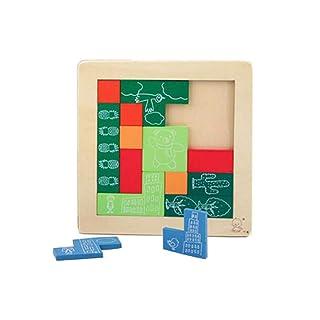 PROW® Di Legno Tangram Puzzle, 12 Pz Colorato Piazza Legna Tetris Costruzione Blocchi Non tossico Sicuro intelligenza Puzzle per Prescolastico Bambini Educativo Giocattoli