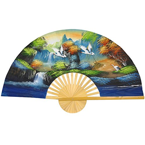 Oriental Furniture Flying Cranes Fan - 60