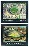 Framed Baltimore Orioles Memorial Stadium and Camden Yards Aerial Prints (Set of 2)