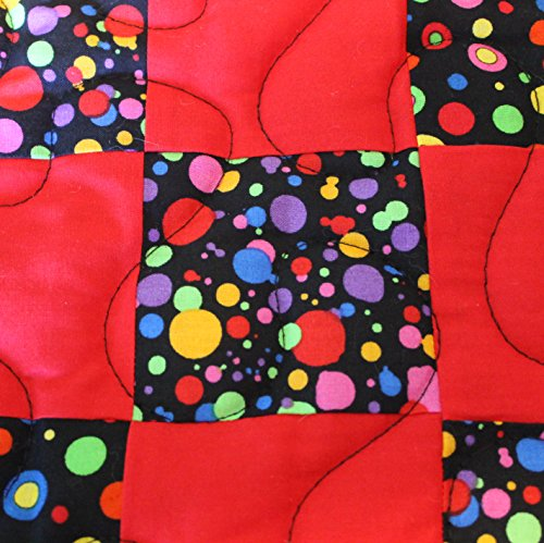Handmade Patchwork Lap Quilt, Multi-Colored Rings and Circles on Black with Red/Yellow #7519