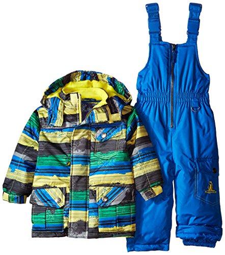 Rugged Bear Baby Boys' Stripe Snowsuit, Black, 24 Months