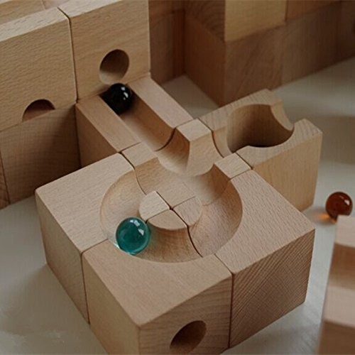 Ball Track Basic Set 30 Piece Wooden Marble Run European Made Puzzle Blocks by DUOLAIMENG (Image #4)