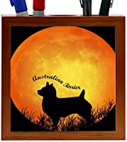 Rikki Knight Australian Terrier Dog Silhouette by Moon Design 5-Inch Wooden Tile Pen Holder (RK-PH8444)