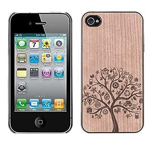 - Tree Nature Food Healthy - - Funda Delgada Cubierta Case Cover de Madera FOR Apple iPhone 4 4S 4G BullDog Case