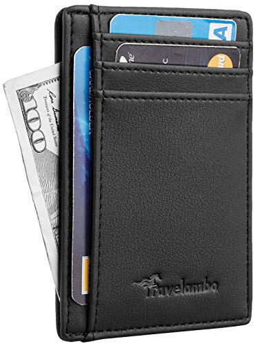 Stitched Billfold Leather Genuine Wallet - Travelambo Front Pocket Minimalist Leather Slim Wallet RFID Blocking Medium Size(Vipor Black)