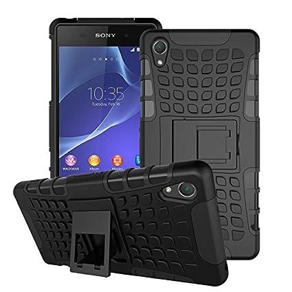 BCIT Sony Xperia Z2 Cover - Alta calidad Escabroso Durable Estuche protector TPU/PC funda carcasa case para Sony Xperia Z2 - Negro