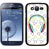 Funda carcasa para Samsung Galaxy Grand NEO Plus estampado auriculares música azul rosa amarillo borde negro