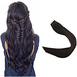 Full Shine 22inch color #2 Darkest Brown 100% Real Human Remy Hair Tape Extensions Solid Color Tape in Extensions Double Side Tape 50g Per Package