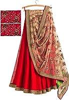 Myozz Women's Red Banglori Silk Embroidery Lehenga Choli