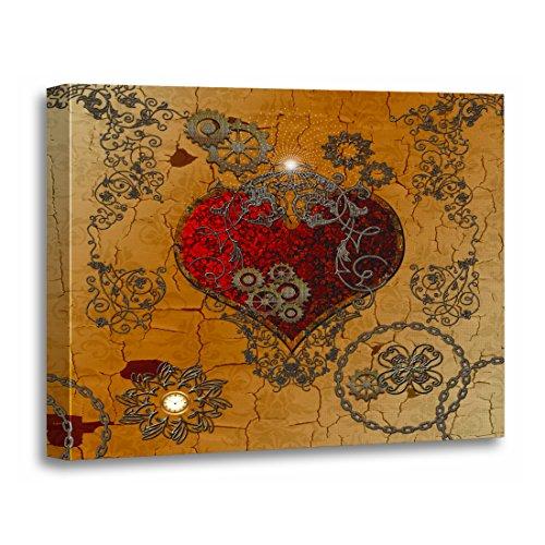 TORASS Canvas Wall Art Print Gears Steampunk Heart