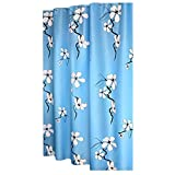 Flower Shower Curtains Blue Shower Curtain Waterproof Curtain, 180x180 cm