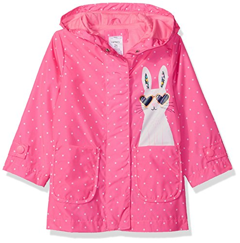 Carter's Little Girls' Her Favorite Rainslicker Rain Jacket, Pink Bunny Dot, 5/6 (Rain Raincoat Slicker)