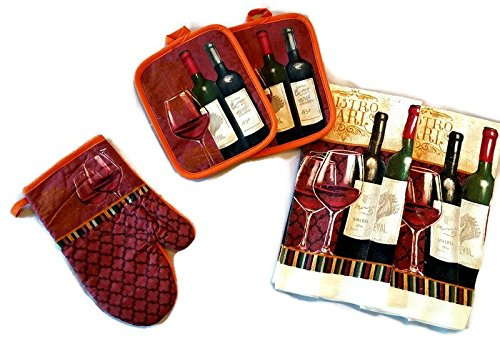Wine Bottle And Glass Linen 5 Piece Bundle Package Oven Mitt (1) Pot Holder (2) Kitchen Towels (2) ()