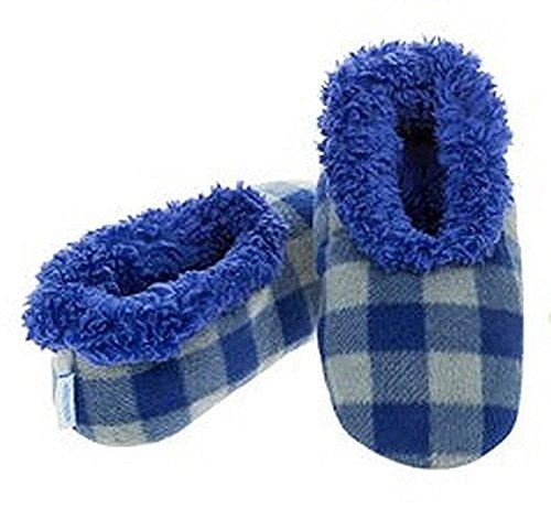 Smiffys–Zapatillas Snoozies varios diseños, tamaño pequeño, mediano y grande Buffalo Plaid Blue