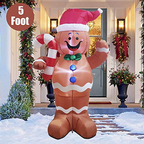 Twinkle Star 5 FT Christmas Inflatable LED Lighted Gingerbread Man Blow Up Xmas Party Indoor Outdoor Yard Lawn Garden Decoration