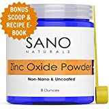 Zinc Oxide Powder For Skin - Non Nano - Natural Zinc Oxide Sunscreen Powder - Ideal For DIY Sunscreen, Lotion and Baby Diaper Rash by Sano Naturals