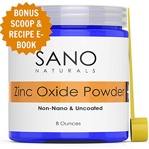 Zinc Oxide Powder For Skin - Non Nano - Natural Zinc Oxide Sunscreen Powder - Ideal For DIY Sunscreen, Lotion and Baby Diaper Rash by Sano Naturals