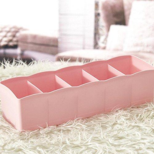 Iuhan Plastic 5 Grids Plastic Storage Box Tie Bra Socks Drawer Cosmetic Divider Tidy Organizer (Pink)