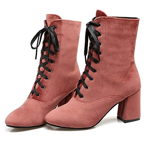 Pink con Ancho Cordones para RAZAMAZA Moda Mujer Tacon Alto Botines 1pwq6xFzO