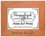 ThisWear Besties Life Best Friends Forever Gift Natural Wood Engraved 5×7 Landscape Picture Frame Wood