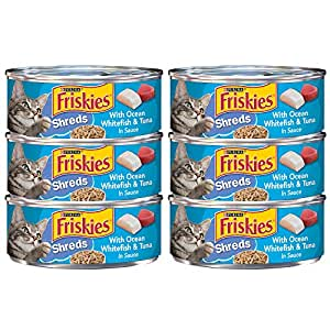 Friskies Shreds With Ocean Whitefish & Tuna in Sauce Wet Cat Food, Green, 5.5 oz, 12311435, 6 Pieces