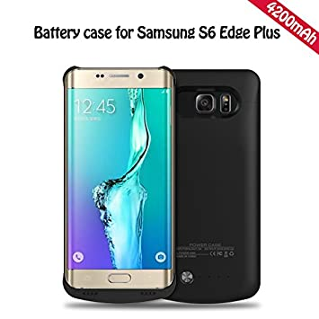 YFisk Externos 4200mah batería Funda Cargador Para Samsung Galaxy S6 Edge Plus-Negro