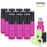 Olilia Glass Roll on Bottles with Metal Roller Balls, Essential Oils Opener included 12 Pack of 5ml (Violet)