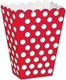 Unique Party - 59292 - Boîtes de Pop-Corn à Pois Rouge, Paquet de 8