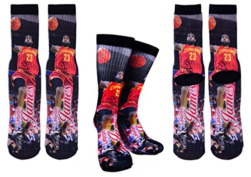 Forever Fanatics Cleveland Lebron James #23 Basketball Crew Socks ✓ Lebron James Autographed ✓ One Size Fits All Sizes 6-13 ✓ Ultimate Basketball Fan Gift (Size 6-13, James #23) (Lebron James Style)