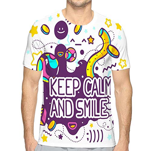 Men's Classic Fit O-Neck T-Shirt Bright Keep Calm Smile Quote Hand Draw line Art Web site Advertising