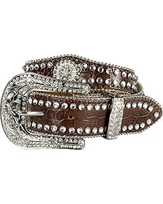Nocona Girl's Faux Croc Print Ball Chain Edge Belt