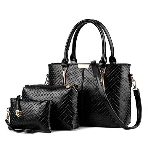 XMLZG Women's PU Leather Top Handle Shoulder Handbag Purse Crossbody Tote Bag Set Black