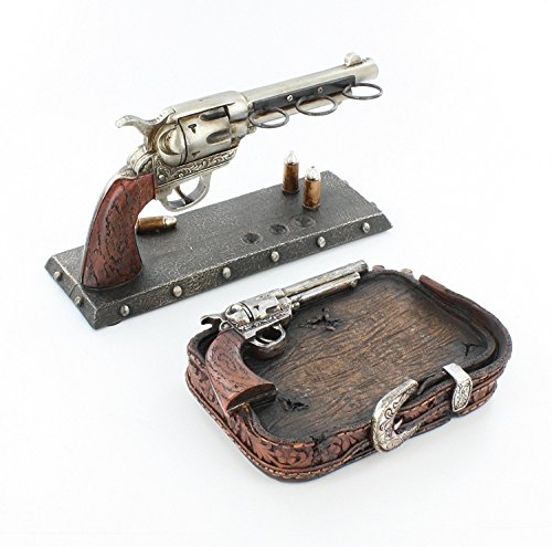 Six Shooter Belt Buckle Bathroom Set - Toothbrush Holder & Soap Dish Western Pistol Gun Decor (Western Pistols)
