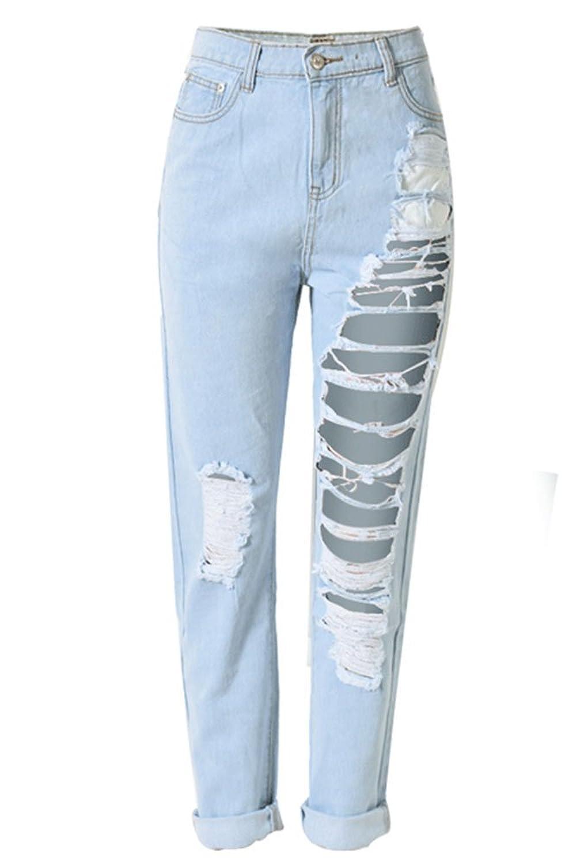 Echoine Women's Destroyed Boyfriend Jeans Straight Ripped Washed Denim Trousers