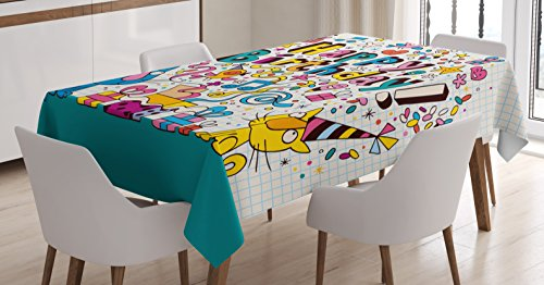Birthday Decorations for Kids Tablecloth by Ambesonne, Math Note Pad Inspired Cartoon Animals Cats Present Image, Dining Room Kitchen Rectangular Table Cover, 60 W X 90 L Inches, Blue and White