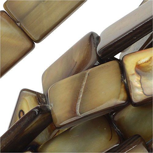 Flat Rectangles 9.5x15mm, 15.5 Inch Strand, Brown (Flat Rectangle Bead Strand)