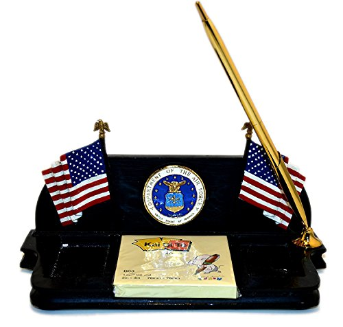 United States Air Force Decorative Desk Organizer with USAF Seal, American Flags, Included Pen and Sticky Notes