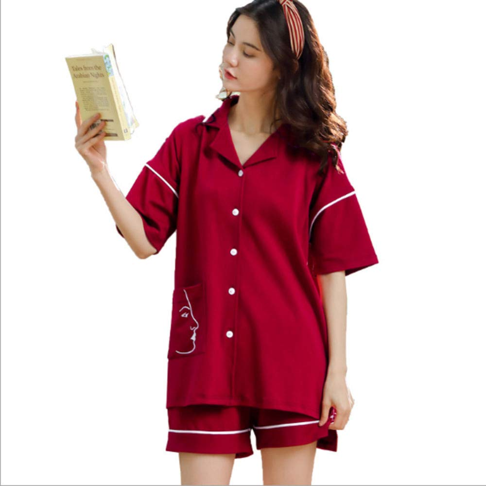 QJKai Women's Shorts Pajama Set, Loose Soft Loungewear Short Sleeved Tshirt Cotton Shorts Set, Thin Casual Nightwear Sleepwear for Summer