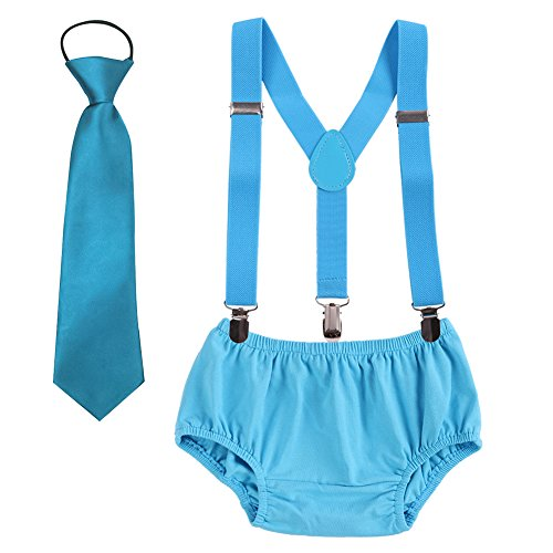 Baby boys Suspenders Bloomers Necktie Set, Adjustable Y Back Clip Kids Boutique Cake Smash Outfits Sky Blue One Size