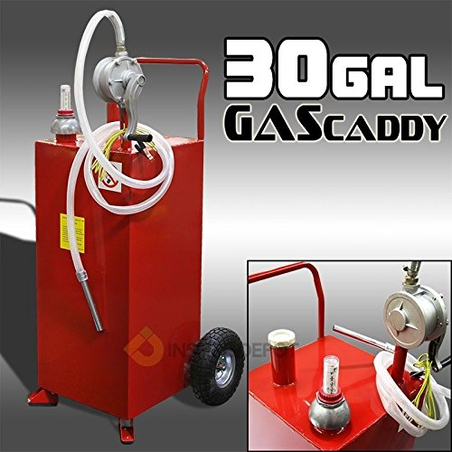 Stark 30 Gallon Gas Caddy Tank Gasoline Fluid Diesel Fuel Transfer Storage Dispenser with Pump, Red by Stark (Image #3)
