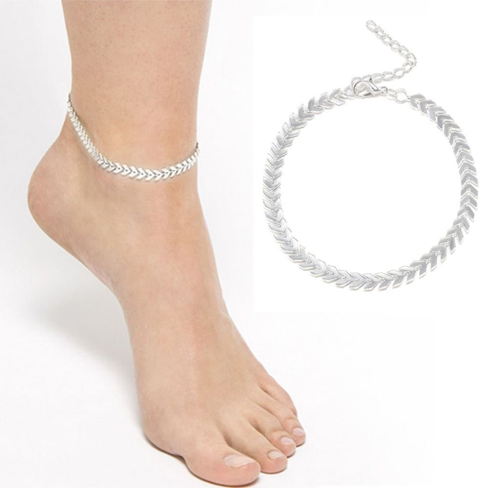 Zhiwen Simple Fashion Ankle Bracelet Women 925 Sterling Silver Anklet Feminine Charm Foot Jewelry Chain Beach B07CK7Z2XK_US