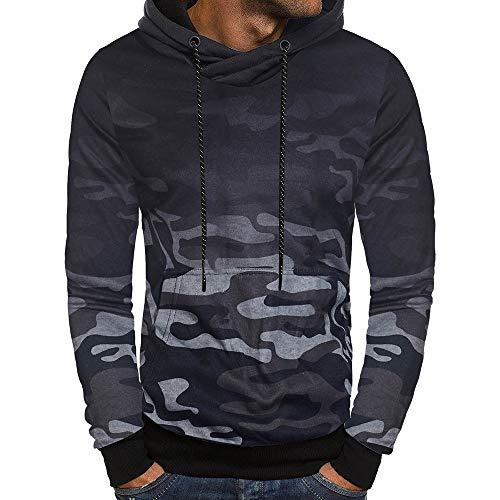 Hoodies for Men,Wobuoke Men's Long Sleeve Camouflage Pockets Hooded Sweatshirt Top Tee Outwear -