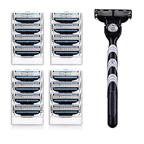 Men's 3 Razor Blades Refills Cartridge Pack with Shaving Razor Handle -Close Shave Mens Manual Shaver Safety -(1 Handle + 16 Cartridges)