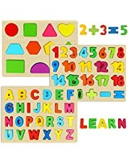 Dreampark Wooden Puzzles for Toddlers, Wooden Alphabet Number Puzzles and Shape Puzzle for Kids Ages 3 4 5 and Up (3 Pack)