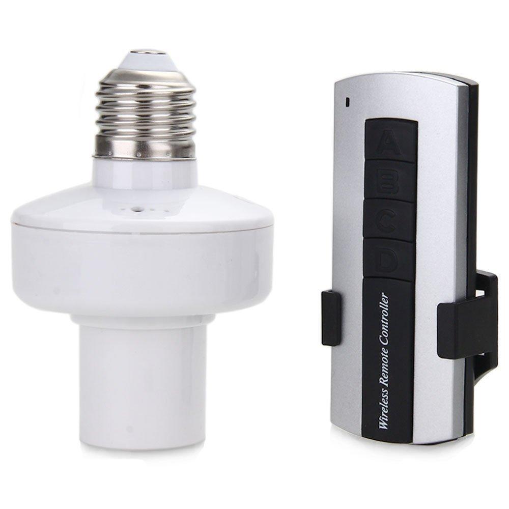 Mengshen Sostenedor de bulbo remoto inalámbrico de control E27 luz de la lámpara cabezal de mando del zócalo de la base del interruptor RS-RC04 (4 Titular de la lámpara) SYNCHKG059720