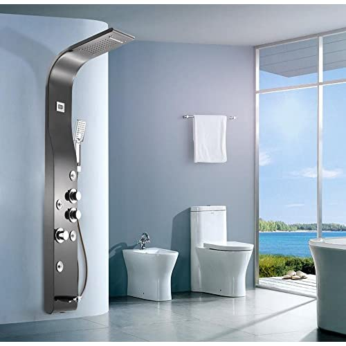 low-cost HYY@ Thermostatic shower panel shower set shower double water shower bath set , d