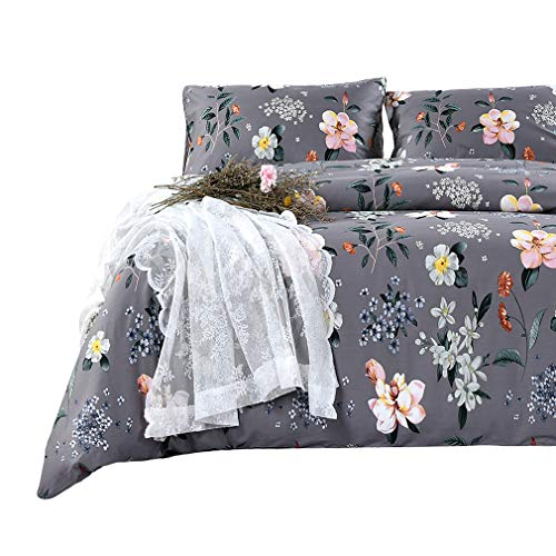 SexyTown Elegant Duvet Cover Set Cal King with Zipper Closure Luxury Ultra Soft 100% Egyptian Cotton Comforter Cover Set Cal King Floral Bedding Set Botanical Duvet Cover and Pillowcases Pattern Q