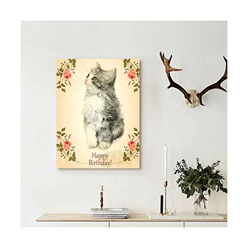 Collage Oil Reproductions (Liguo88 Custom canvas Birthday Decorations Adorable Fluffy Cat Rose Branches Greeting Card Inspired Design Wall Hanging for Tan Grey Coral)