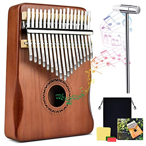 Kalimba Thumb Piano 17 Keys Portable Finger Piano Music Instrument Mahogany Solid Wood with Study Instruction Tune Hammer Stickers