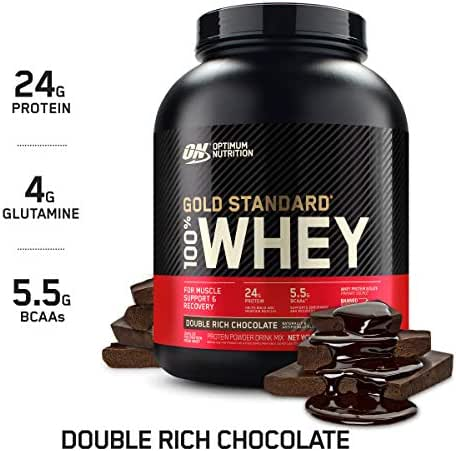 Optimum Nutrition Gold Standard 100% Whey Protein Powder, Double Rich Chocolate, 5 Lb (Packaging May Vary)